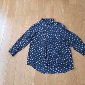 J. Crew French hens silk shirt